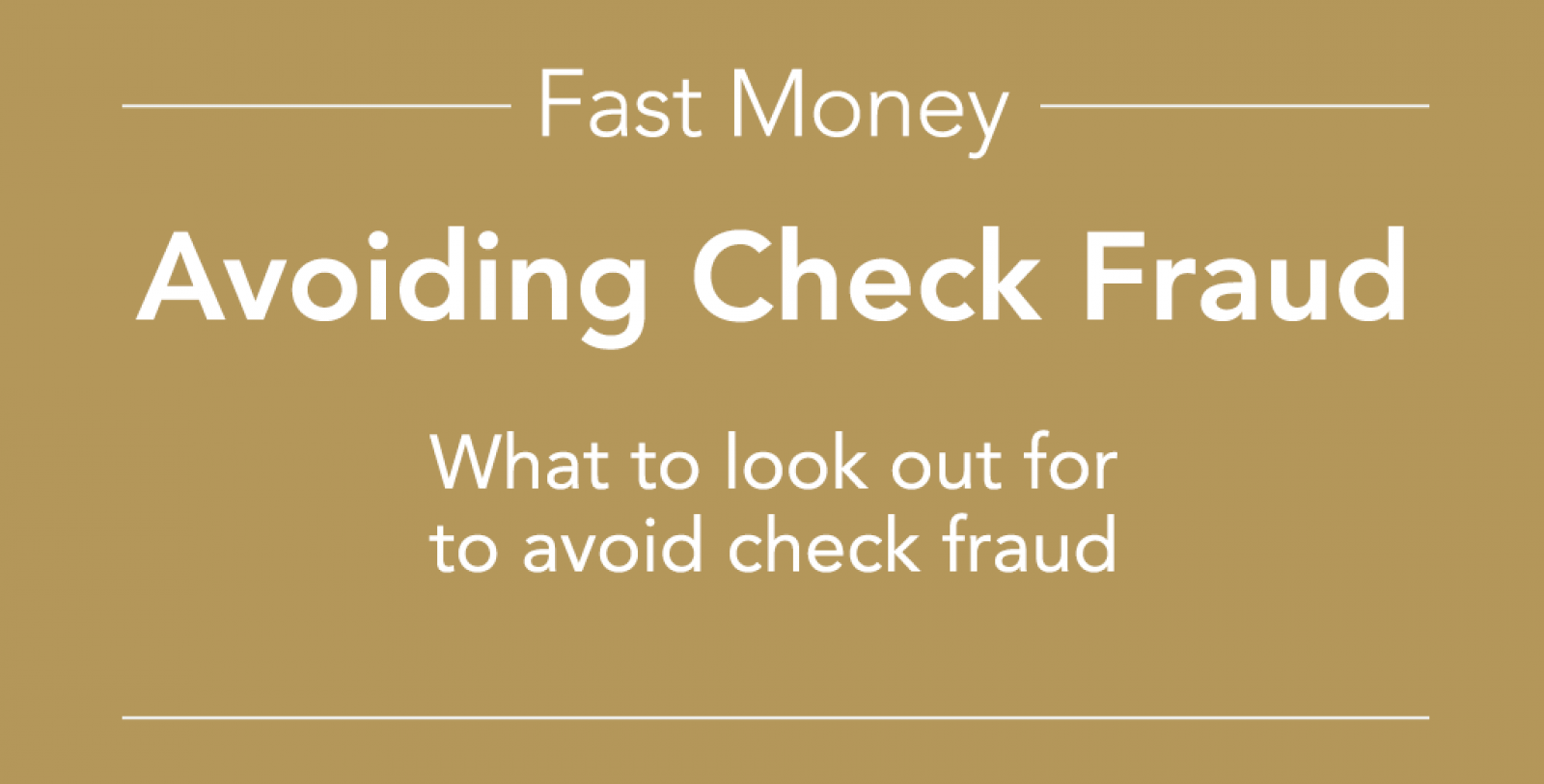 Avoiding Check Fraud